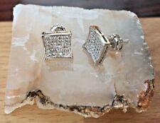 Kite Stud Earrings 18K Gold Filled 0/5 ct. Clear Lab Diamonds Screw Back 8mm