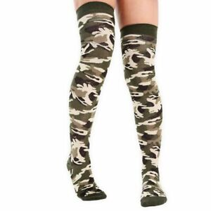 Camouflage Over the Knee Socks. Army Fancy Dress Cotton Blend Size 4-6.1/2