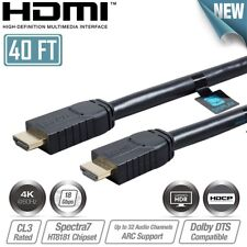 40ft HDMI Cable 4K 60Hz HDR 18Gbps HDCP 2.2 Deep Color 16 24AWG CL3 In-Wall Cord