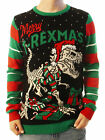 Ugly Christmas Party Sweater Unisex Men's Merry T- Rexmas Skeleton Knitted