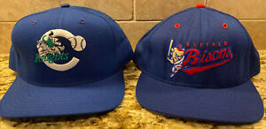 Lot of 2 Vintage MiLB Snapback Hats Caps - Charlotte Knights & Buffalo Bisons