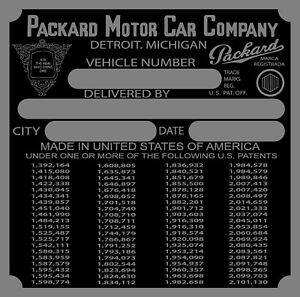 Packard Data Plate 1939  VIN ID Identification Most all can be made in US by me