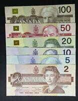 Canada 1986 1989 1991 Bird Series $5 $10 $20 $50 $100 Banknotes Set