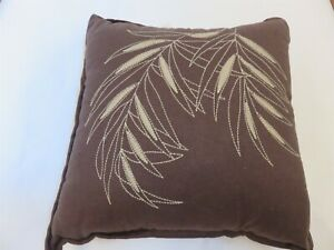 Croscill Brazil Chocolate Brown Embroidered Leaf Linen blend deco pillow NWT