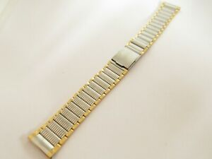 Two Tone Stainless Steel 18mm Watch Strap Bracelet with a Fold Over Clasp