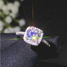 14k White Gold Finish 2.30 Carat Round Cut Diamond Halo Engagement Ring Size I-T