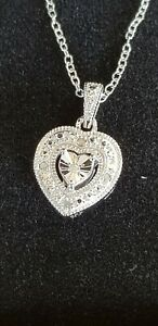 Real Sliver necklace heart shape with diamond insert BNIB Perfect gift