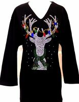 PLUS 3X Black Christmas Light Reindeer Rhinestone Hand Embellished Top Shirt