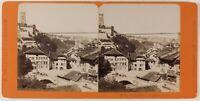 Suisse Freiburg Grand Pont Foto PL27L2n Stereo Vintage Albumina c1865