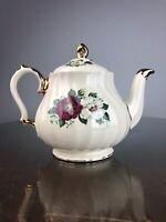 Vintage Sadler Teapot Swirl Shape Red White Floral Heavy Gold Trim England