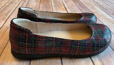 ALEGRIA BY PG LITE PETAL FLATS LOAFERS PET-821 RED TARTAN PLAID LEATHER SIZE 10