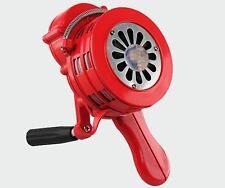 RED HANDHELD LOUD HAND CRANK MANUAL OPERATED AIR RAID ALARM PORTABLE SIREN-132