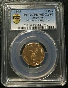 Argentina 5 Peso 1995 Gold coin PCGS PR69DCAM  Unites Nations actual Mtg: 250