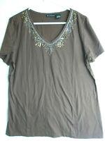 Bay Studio Women 's Stretch Knit Brown  Cotton Top  Beaded Blouse Sz  XL