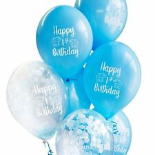 10 x Happy 1st Birthday Boy Confetti Balloons FREE RIBBON