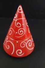 Yankee Candle Christmas Tree Tea Light Holder Red With White Swirls