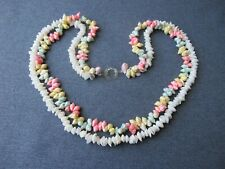 Vintage celluloid clasp colored iridescent &white real shells 2 strands necklace