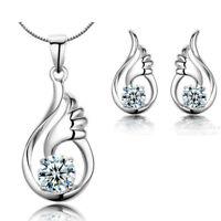 Angel Wing Pendant Necklace 925 Sterling Silver Stud Earrings Womens Jewellery