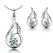 Angel Wing Pendant Necklace Stud Earrings  925 Sterling Silver Womens Jewellery