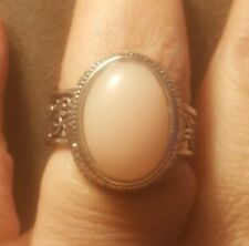 Silvertone Metal Ring With Rose Quartz Colored Stone