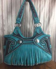 Montana West Turquoise PVC Leather Fringe Handbag Shoulder bag GUC Ships Free!