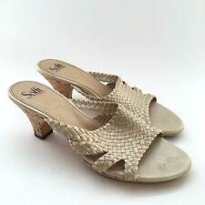Sofft 11M Sandals Beige Gold Metallic Slip On Woven Leather Cork Open Toe Summer