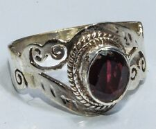 Sterling Silver Traditional Asian Vintage Style Garnet Stone Ring Size R Gift