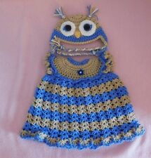 """American Girl Doll Clothes Crochet Blue Owl Dress & Hat Fit American Girl 18"""""""