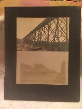 Antique circa 1910 Horse Drawn Wagons and Bridge Mounted Photograph