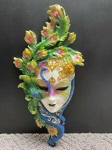 Veronese Venetian Peacock Masquerade Wall Mask Sculpture Plaque #1816