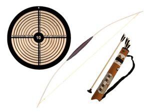 Kinderbogen Bogenset mit Zielscheibe Pfeil und Bogen + Indianerköcher Holzbogen