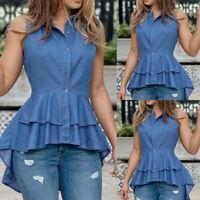 Women's Sleeveless Denim Tops Shirt Ladies Irregular Swing Hem Jean Blouse Vest