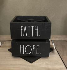 Rae Dunn Faith Hope Square Swivel Pen Wooden Holder Black 45 X 45