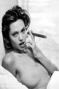 Angelina Jolie Cigar Pinup Girl Fridge Refrigerator Photo 4x6 Magnet Man Cave DE