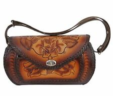 Tasche Handtasche Schultertasche Westerntasche 100% Leder punziert Handarbeit