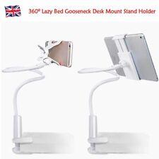 White Lazy Bed Gooseneck Desk Mount Stand Holder For iPad Tablet Flexible 360º