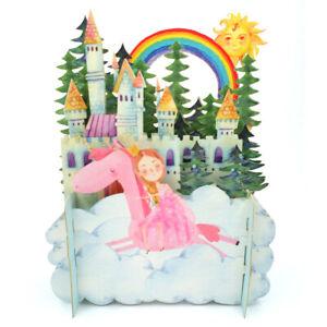 Children's Princess & A Unicorn 3D Pop Up Birthday Greeting Card By Alljoy Cards