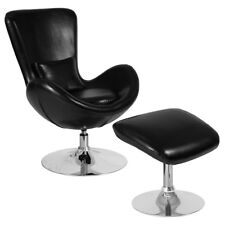 Contemporary Retro Black Leathersoft Egg Swivel Reception Chair with Ottoman