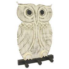 Wooden Coat Hanger - Whitewash Effect Owl