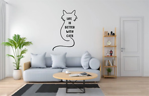 Life Is Better With Cats Quote Wall Art Decal Sticker Home Decor Q278