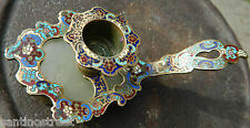 1800'S Antique French CloisonnÉ Enamel Candle Holder Alabaster Base