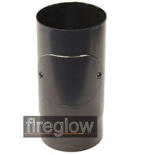 """6"""" (150mm) diameter 330mm Length + DOOR Vitreous Enamel Stove Flue Pipe Black"""