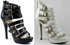 Faux Leather Strappy w Buckle Open Toe High Heel Platform Dress Sandal Delicious