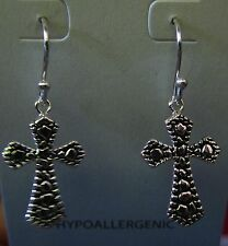 Jody Coyote Earrings JC0484 hypoallergenic silver cross dangle inspire christian