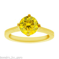 ENHANCED CANARY YELLOW DIAMOND SOLITAIRE ENGAGEMENT RING 14K YELLOW GOLD