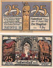 Germany 25 Pfennig 1921 Notgeld Halberstadt UNC Uncirculated Banknote