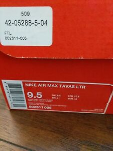 Nike Air Max Tavas Men's Leather Sneakers Wolf Grey 802611 005 sz 9.5