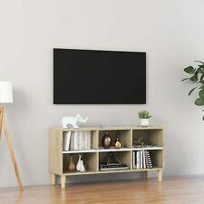 Meuble TV et pieds en bois Blanc et chêne sonoma 103,5x30x50  C6R4