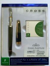 Cross Aventura Black Fountain Pen W/ 6 Black Ink Cartridges * MSRP $50 *35% Off