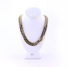 SOLID TWO TONE GOLD SILVER THICK HEAVY MIAMI CUBAN TIGHT LINK CHAIN 16MM JayZ